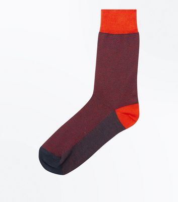 Orange and Navy Spot Socks