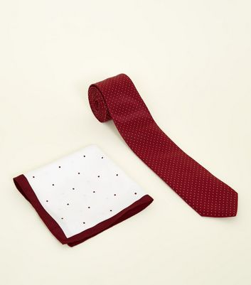 Red Polka Dot Tie and Pocket Square Set