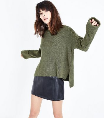 Khaki Cuffed Sleeve Step Hem Jumper