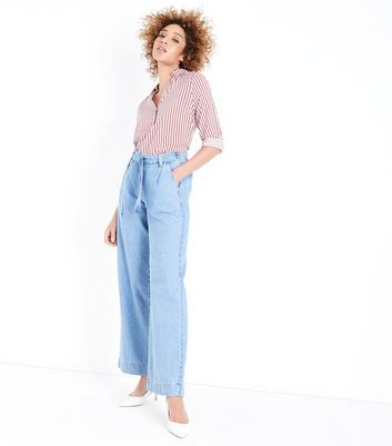 Blue Light Wash Tie Waist Wide Leg Jeans by New Look