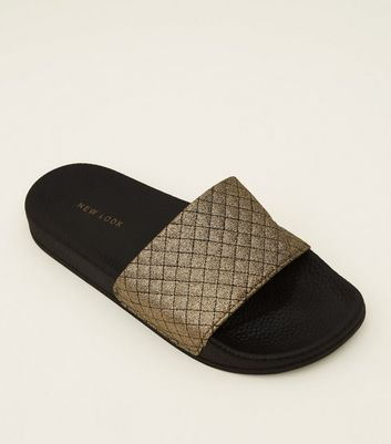 Black Quilted Glitter Strap Sliders