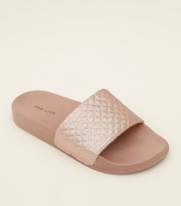 Pink Quilted Glitter Strap Sliders