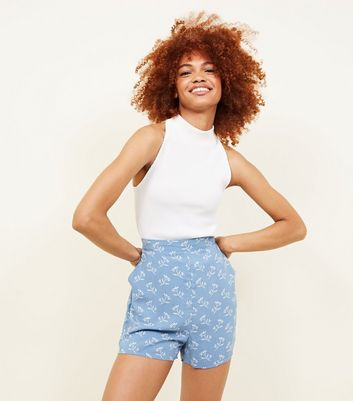 Pale Blue Ditsy Floral Shorts