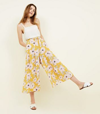 Yellow Floral Gathered Wide Leg Cropped Trousers