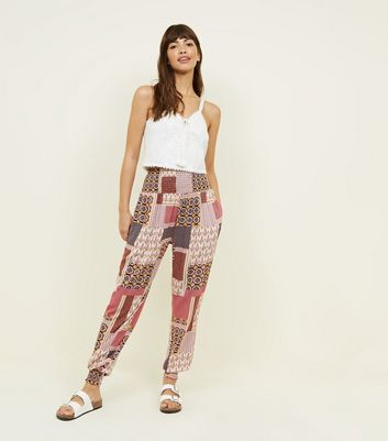 Pink Patchwork Print Cheesecloth Joggers