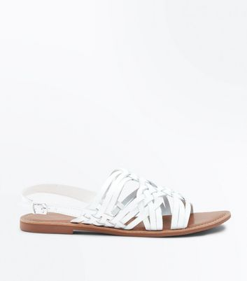 White Leather Cross Plait Flat Sandals by New Look