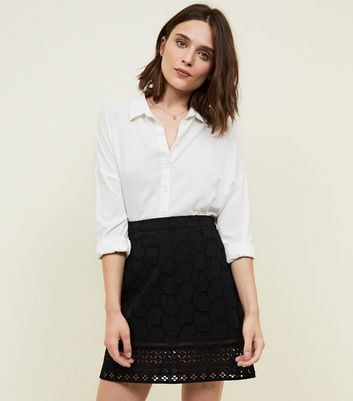 Black Cut Out Embroidered Skirt