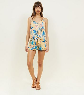 Yellow Tropical Print Shorts