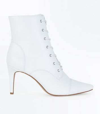 White Lace Up Pointed Heel Boots