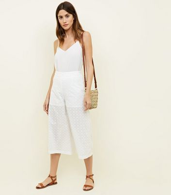 White Cotton Broderie Culottes