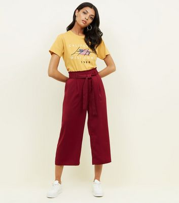 Burgundy Tie Waist Cropped Trousers