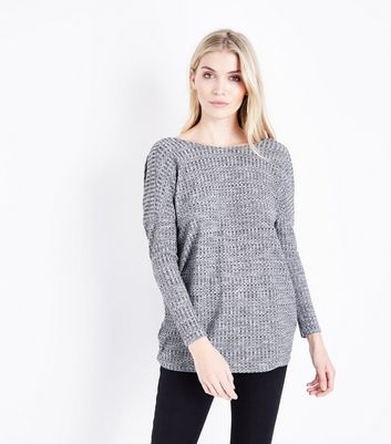 Pale Grey Twist Back Ribbed Longline Top