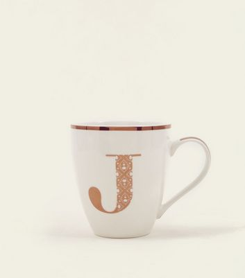 White Metallic J Letter Mug