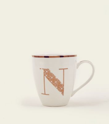 White Metallic N Letter Mug