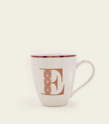 White Metallic E Letter Mug