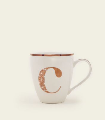 White Metallic C Letter Mug