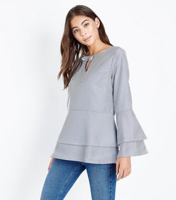 Mela Blue Stripe Tie Neck Tiered Blouse New Look Clearance Many Kinds Of Sale Cheap Prices Cheap Sale Low Shipping Fee EhKTzLJ