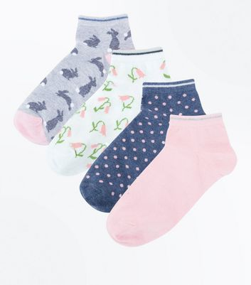 4 Pack Grey Bunny and Polka Dot Trainers Socks