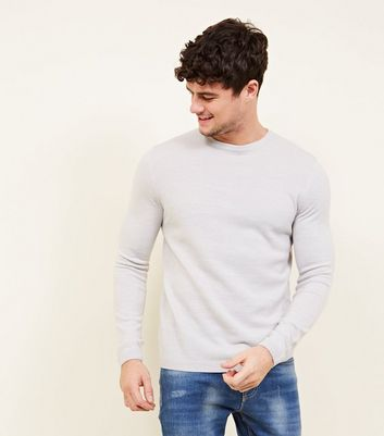 Dark Grey Textured Front Crew Neck Jumper