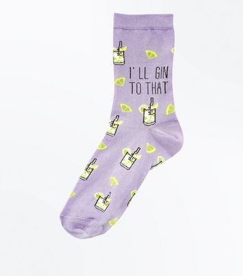 Chaussettes lilas à message I'll Gin To That