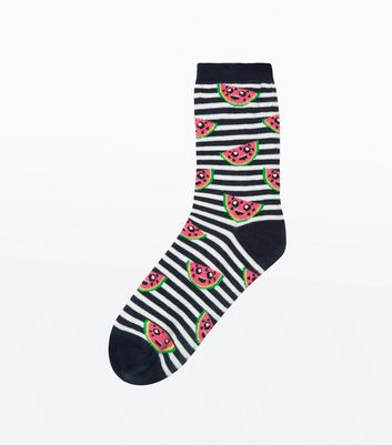 Navy Stripe Watermelon Socks