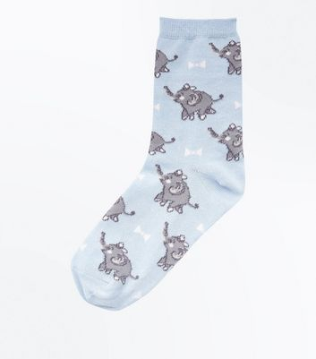 Pale Blue Elephant Pattern Socks