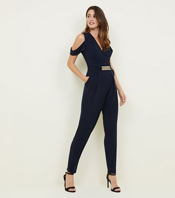 Mela Navy Cold Shoulder Belted Jumpsuit