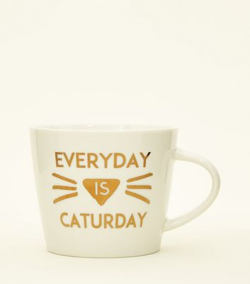 White Metallic Caturday Mug