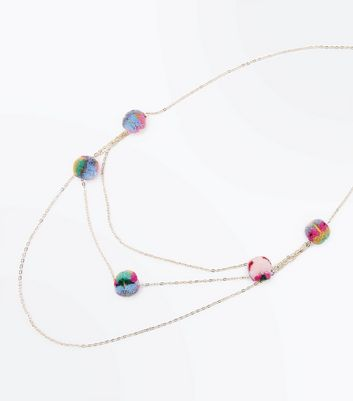 Multi Coloured Pom Pom Layered Necklace