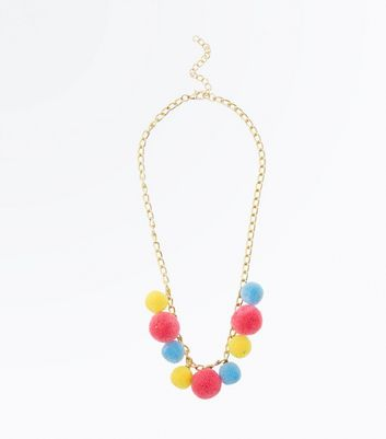 Multi Coloured Pom Pom Necklace