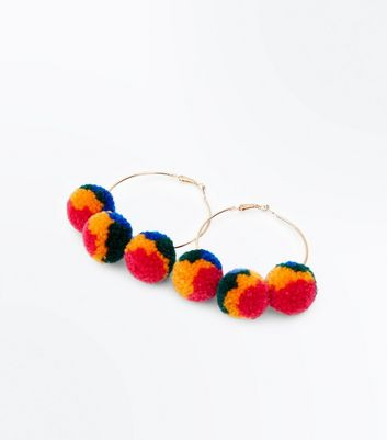 Multi Coloured Pom Pom Hoop Earrings