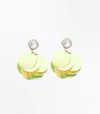 Yellow Sequin Diamante Earrings