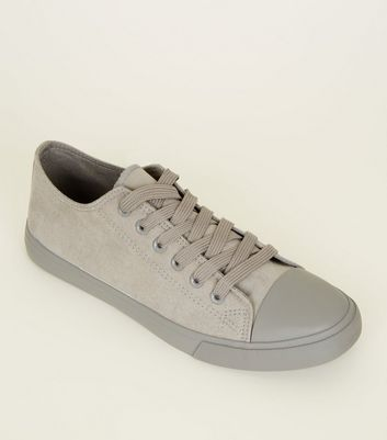 Grey Suedette Lace-Up Trainers