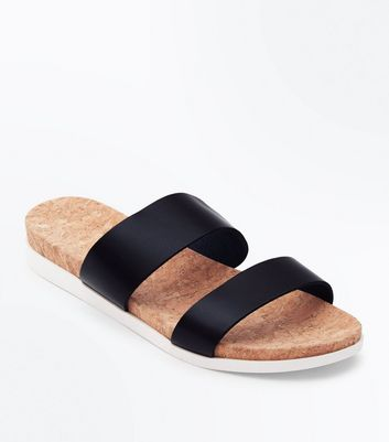 Wide Fit Black Leather Double Strap Sliders