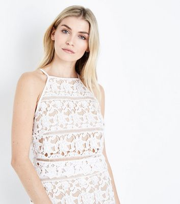 Cream Lace High Neck Crop Top