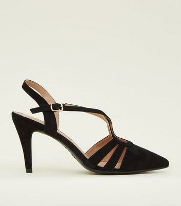 Wide Fit Black Suedette Strappy Pointed Courts