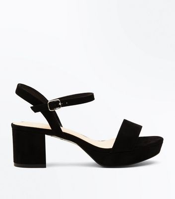 Teens Black Suedette Platform Block Heel Sandals