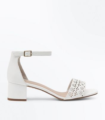 Girls White Laser Cut Block Heel Sandals