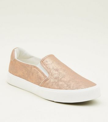 Teens Rose Gold Faux Snakeskin Slip-On Trainers