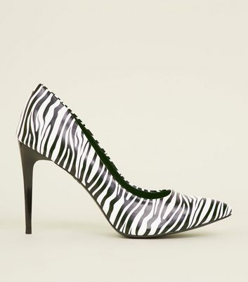 Black Zebra Print Pointed Court Shoes