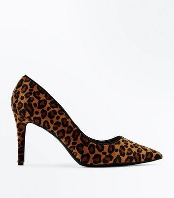 Brown Leopard Faux Pony Hair Pointed Courts