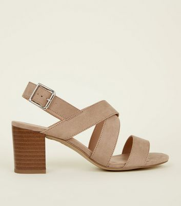 Girls Light Brown Suedette Block Heel Sandals