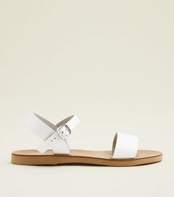 Teens White Leather Sandals