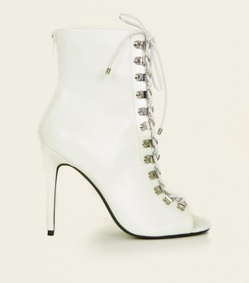 White Leather-Look Lace Up Peep Toe Stilettos