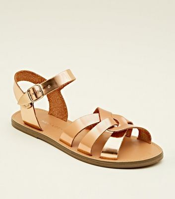Girls Rose Gold Leather-Look Caged Flat Sandals