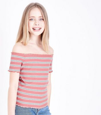 Teens Pink Stripe Frill Hem Bardot Neck Top