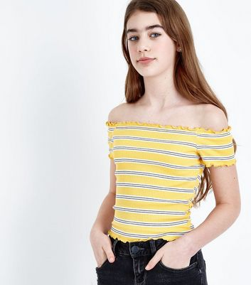 Teens Yellow Stripe Frill Hem Bardot Neck Top