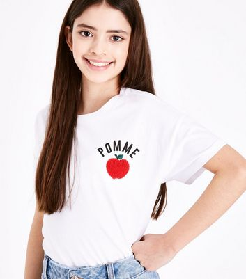 Teens White Pomme Apple Slogan T-Shirt