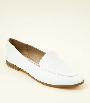 White Leather-Look Loafers