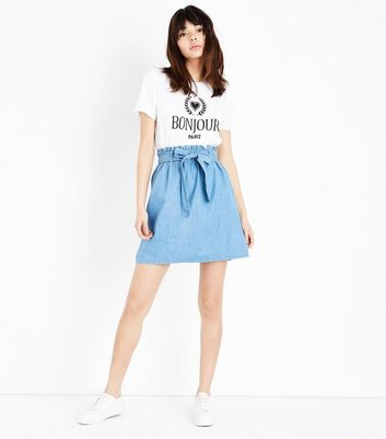 Blue Paperbag Waist Denim Skirt